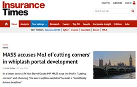 MASS accuses MoJ of 'cutting corners' in whiplash portal development