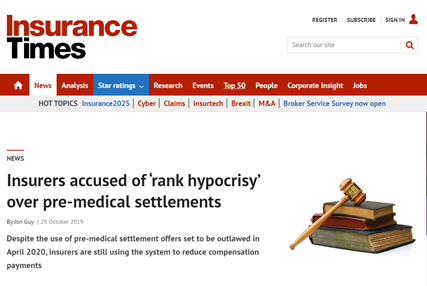 Insurers accused of 'rank hypocrisy'over pre-medical settlements